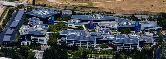 Solar panels dot the roofs of the GoogleplexSource: Austin McKinley, Wikipedia
